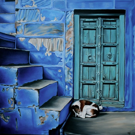 (CreativeWork) Dreaming of Cats by Margaret Ingles. Oil Paint. Shop online at Bluethumb.