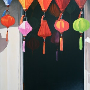 (CreativeWork) Lanterns by Margaret Ingles. oil-painting. Shop online at Bluethumb.