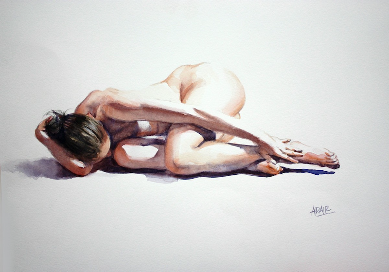 (CreativeWork) 'In the Altogether' by Pauline Adair. watercolour. Shop online at Bluethumb.
