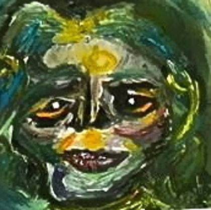 (CreativeWork) Old lady  by a lia. oil-painting. Shop online at Bluethumb.