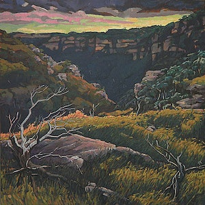 (CreativeWork) Windy Day at Leura by Mac Monks. arcylic-painting. Shop online at Bluethumb.