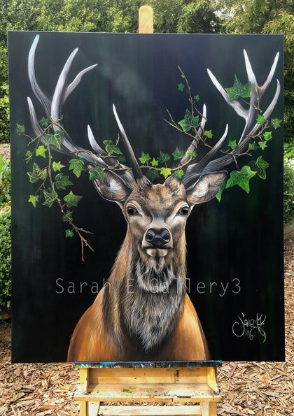 (CreativeWork) Ivy Stag by Sarah Elizabeth. arcylic-painting. Shop online at Bluethumb.