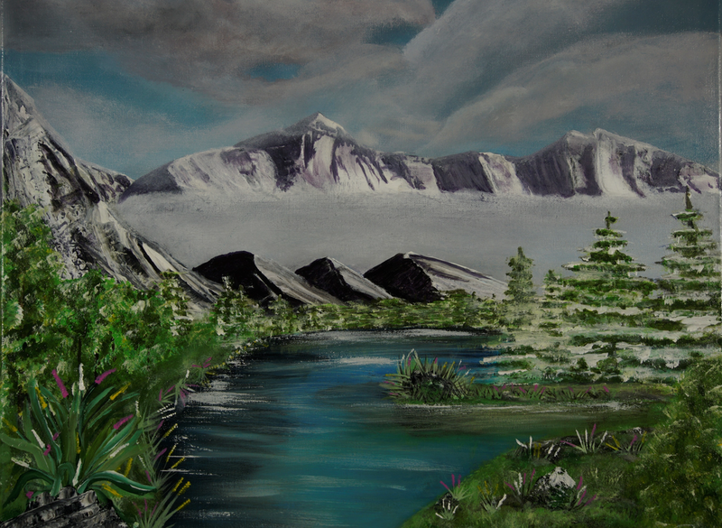 (CreativeWork) Southern Alps by Donna Parker. arcylic-painting. Shop online at Bluethumb.