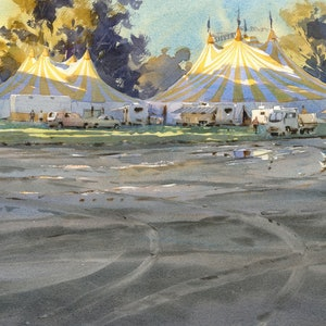 (CreativeWork) Silver Circus Morning by Mike Kowalski. watercolour. Shop online at Bluethumb.