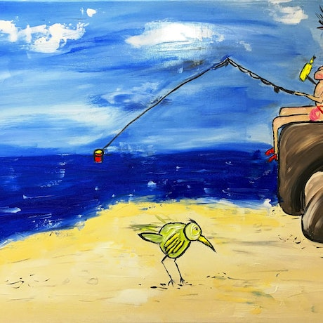 (CreativeWork) Fish and Wine by Leith Kennedy. Acrylic Paint. Shop online at Bluethumb.