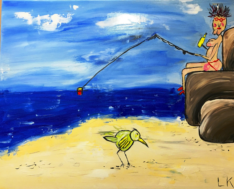 (CreativeWork) Fish and Wine by Leith Kennedy. arcylic-painting. Shop online at Bluethumb.