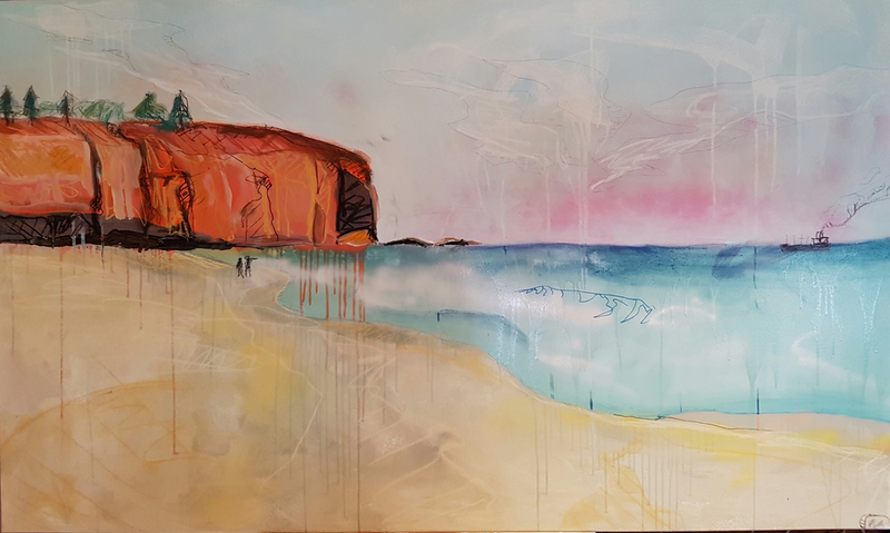 (CreativeWork) Cliff by Sam Patterson-Smith. mixed-media. Shop online at Bluethumb.