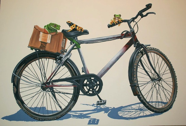 (CreativeWork) Frogs on a Bike by Margaret Ingles. Oil Paint. Shop online at Bluethumb.
