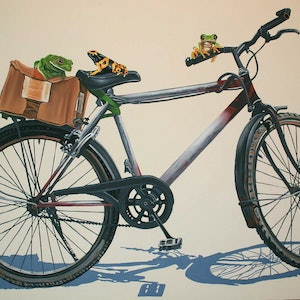 (CreativeWork) Frogs on a Bike by Margaret Ingles. #<Filter:0x00007f96f8bd3580>. Shop online at Bluethumb.