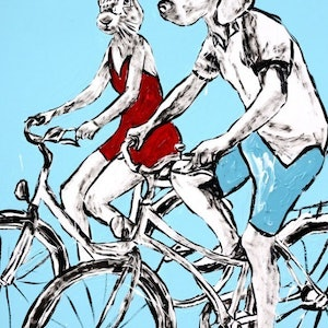 (CreativeWork) They loved riding the streets of Paris by Gillie and Marc Schattner. print. Shop online at Bluethumb.
