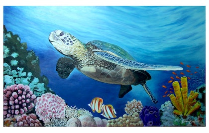 (CreativeWork) Edge Of The Reef by Danny Bradley. arcylic-painting. Shop online at Bluethumb.