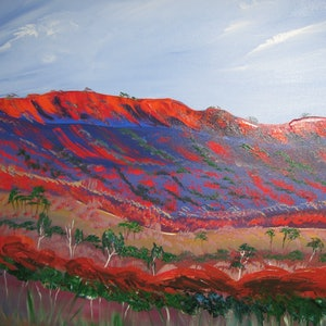 (CreativeWork) Mac Donald Ranges landscape  vibrant red and blues by Lynne ( Dorothy Lynne) Pickering. arcylic-painting. Shop online at Bluethumb.
