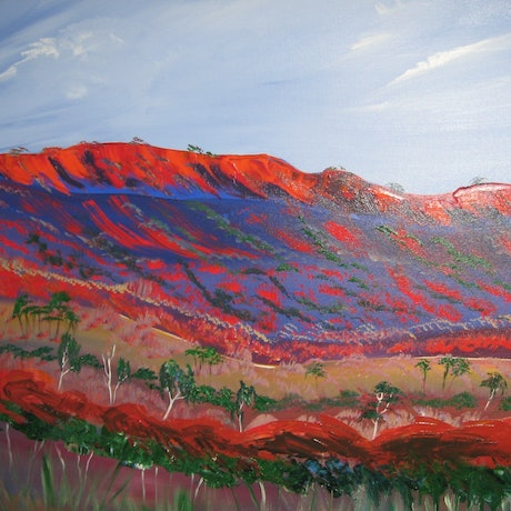 (CreativeWork) Mac Donald Ranges landscape  vibrant red and blues by Lynne ( Dorothy Lynne) Pickering. Acrylic Paint. Shop online at Bluethumb.