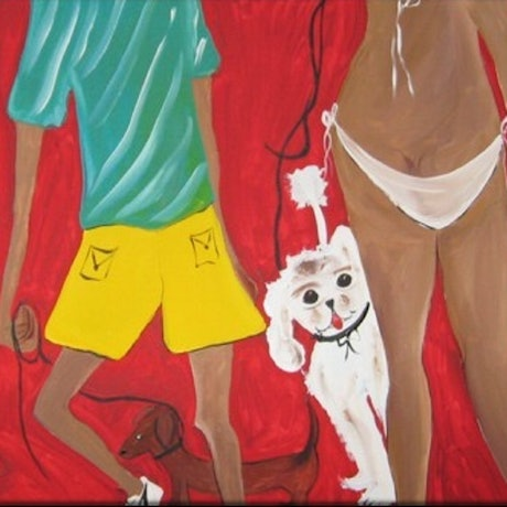 (CreativeWork) WALKING DOGS  by Lynne ( Dorothy Lynne) Pickering. Acrylic Paint. Shop online at Bluethumb.