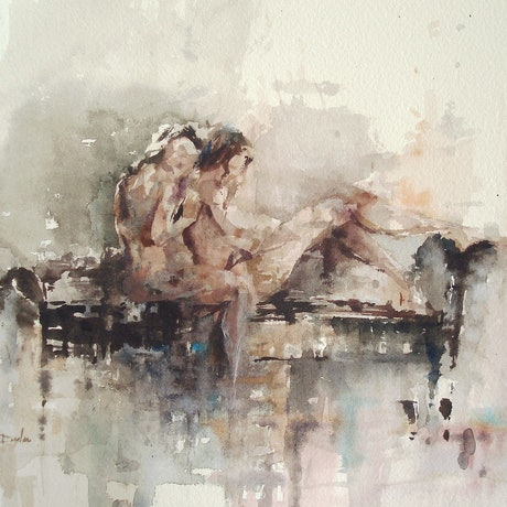 (CreativeWork) Two Figures by Dylan Shearsby. Watercolour Paint. Shop online at Bluethumb.