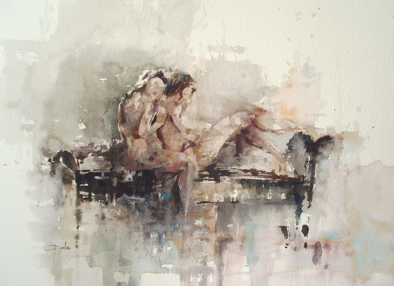 (CreativeWork) Two Figures by Dylan Shearsby. watercolour. Shop online at Bluethumb.