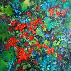 (CreativeWork) Berry Nice by Cathy Gilday. arcylic-painting. Shop online at Bluethumb.