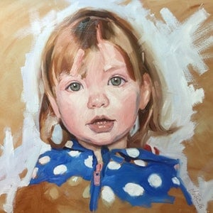 (CreativeWork) Little Lotte by Chris Martin. oil-painting. Shop online at Bluethumb.