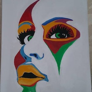 (CreativeWork) colorful face oil painting on canvas by Bianka Boyaci. oil-painting. Shop online at Bluethumb.