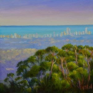 (CreativeWork) Where the bush meets the city by Christopher Vidal. oil-painting. Shop online at Bluethumb.