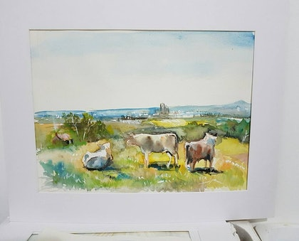 (CreativeWork) Willunga hill to Adelaide  by Jacky Werner. watercolour. Shop online at Bluethumb.