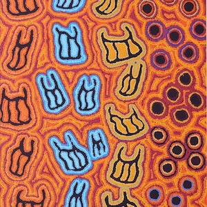 (CreativeWork) Mina Mina Jukurrpa (Mina Mina Dreaming) - Ngalyipi, 641/16 by Kelly Napanangka Michaels. #<Filter:0x0000556b3335dc90>. Shop online at Bluethumb.