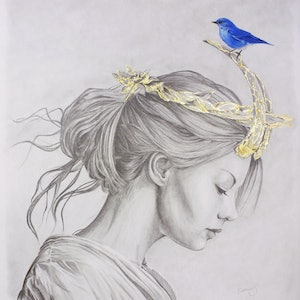 (CreativeWork) Glimmering Gold Crown by Damian Smith. drawing. Shop online at Bluethumb.