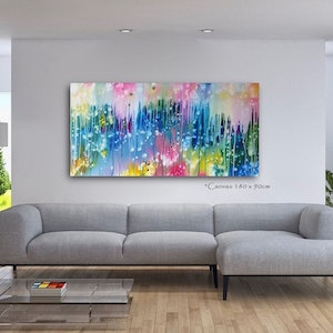 (CreativeWork) Celebration! - 180 x 90cm Blue Green Pink  Orange Yellow Magenta White Acrylic Abstract Art by Desley Wilson. #<Filter:0x000056096f9948b8>. Shop online at Bluethumb.