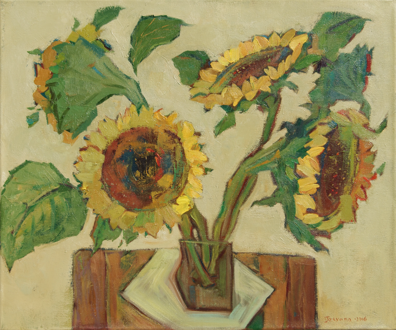 (CreativeWork) Sunflowers by Tetyana Khytko. oil-painting. Shop online at Bluethumb.