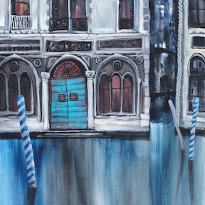 (CreativeWork) Windows on Venice 1 by Sandra Michele Knight. arcylic-painting. Shop online at Bluethumb.