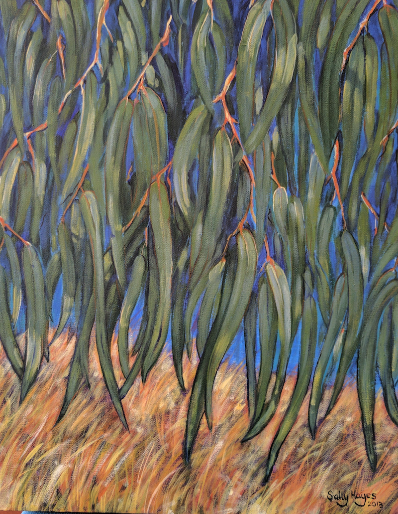 (CreativeWork) Gum leaves by Sally Hayes. arcylic-painting. Shop online at Bluethumb.