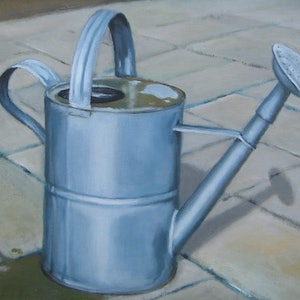 (CreativeWork) Watering Can by Jacqueline Briner. oil-painting. Shop online at Bluethumb.