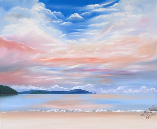 (CreativeWork) South Bruny Island Dreaming The Sea by Rosanne Bender. Oil Paint. Shop online at Bluethumb.