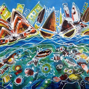 (CreativeWork) Sydney Waters by Wendy Eriksson. mixed-media. Shop online at Bluethumb.