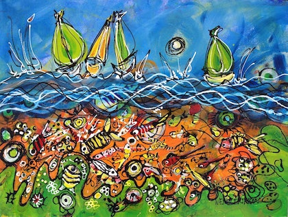 (CreativeWork) A Day Out on the Water by Wendy Eriksson. mixed-media. Shop online at Bluethumb.