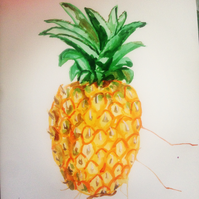 (CreativeWork) Pineapple by Jacob Butler. watercolour. Shop online at Bluethumb.