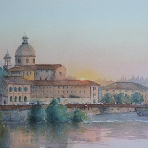 (CreativeWork) Sunset on the River Arno by Cheryl Bruce. #<Filter:0x00007fcaf5c5db78>. Shop online at Bluethumb.