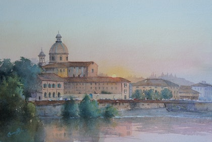 (CreativeWork) Sunset on the River Arno by Cheryl Bruce. watercolour. Shop online at Bluethumb.