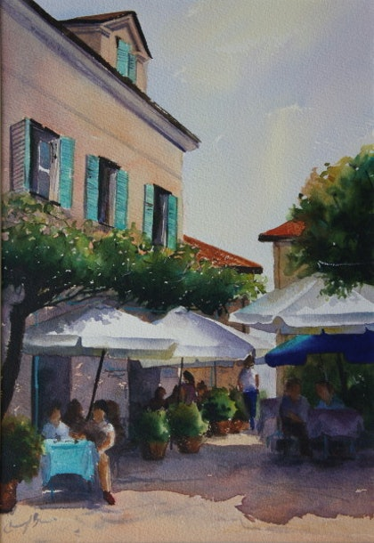 (CreativeWork) Street Cafe, Isola Pescatori by Cheryl Bruce. watercolour. Shop online at Bluethumb.