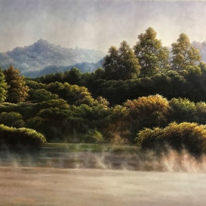 (CreativeWork) Lake by Alex Mo. Oil Paint. Shop online at Bluethumb.