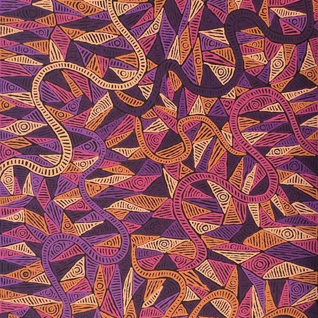 (CreativeWork) Mina Mina Jukurrpa (Mina Mina Dreaming) - Ngalyipi, 1480/14ny by Pauline Napangardi Gallagher. Acrylic Paint. Shop online at Bluethumb.