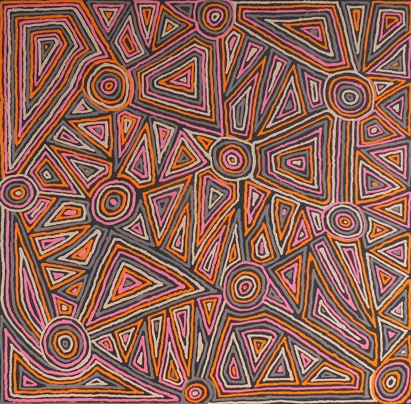 (CreativeWork) Mina Mina Jukurrpa (Mina Mina Dreaming) - Ngalyipi, 127/15ny by Pauline Napangardi Gallagher. Acrylic Paint. Shop online at Bluethumb.