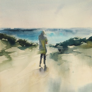(CreativeWork) Dune Valley by Dylan Shearsby. watercolour. Shop online at Bluethumb.