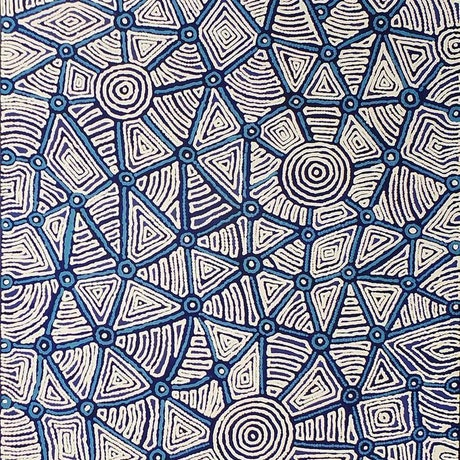 (CreativeWork) Warlukurlangu Jukurrpa (Fire country Dreaming), 481/14ny by Theo Faye Nangala Hudson. Acrylic Paint. Shop online at Bluethumb.