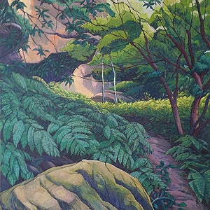 """(CreativeWork) """" Girrawheen Track """" by Mac Monks. arcylic-painting. Shop online at Bluethumb."""