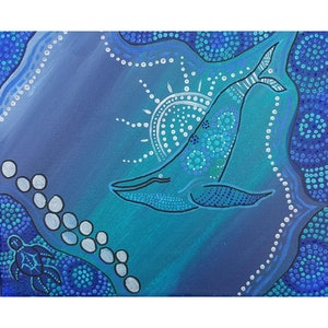 (CreativeWork) Whale under the moon  by Rebecca Reid. arcylic-painting. Shop online at Bluethumb.