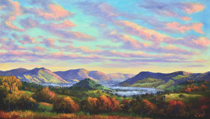(CreativeWork) Early Morning Mist At Reids Flat, NSW by Christopher Vidal. oil-painting. Shop online at Bluethumb.