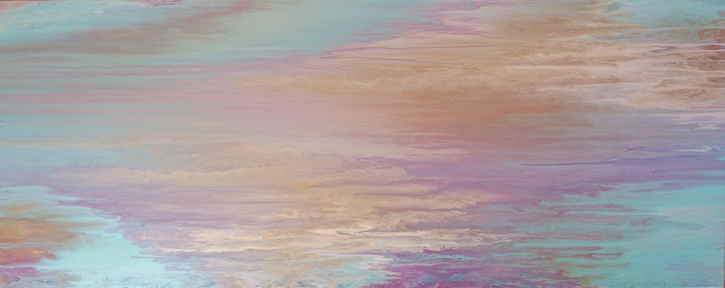 """(CreativeWork) ORIGINAL ABSTRACT ART PAINTING ON STRETCHED CANVAS  """"ANGEL SKY"""" GOLD TURQUOISE PINK LAVENDER by Debra Ryan. mixed-media. Shop online at Bluethumb."""