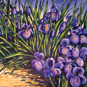 (CreativeWork) Mum's iris's by sue bannister. oil-painting. Shop online at Bluethumb.