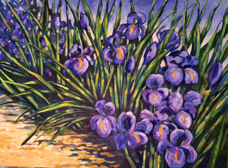 (CreativeWork) Mum's iris's by sue bannister. Oil Paint. Shop online at Bluethumb.